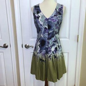 Vince Camuto Sleeveless Purple Floral ALine Dress